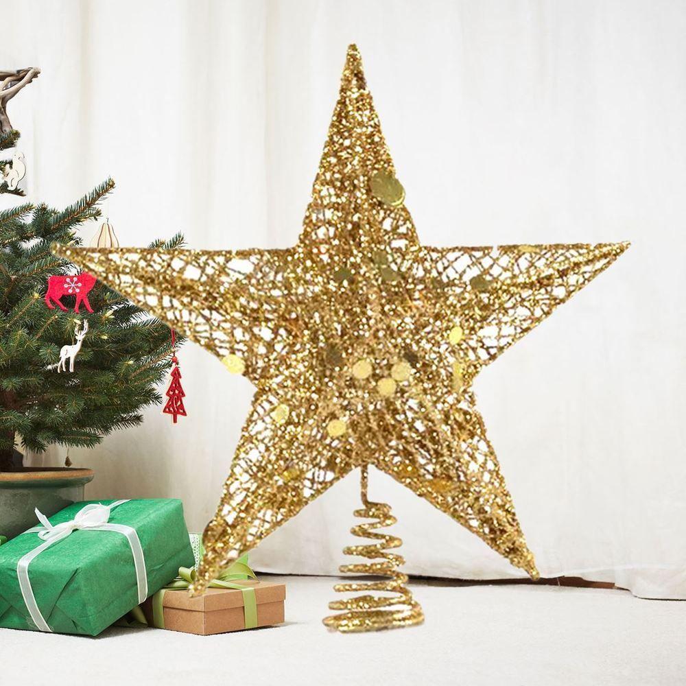 Christmas Tree Topper Star Golden Star Treetop Ornament Xmas Supplies Home Christmas Tree Topper Decorations Gold Christmas Tree Topper Christmas Tree Star