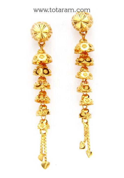 22K Gold Ear Hangings Indian Gold Earrings Pinterest Gold