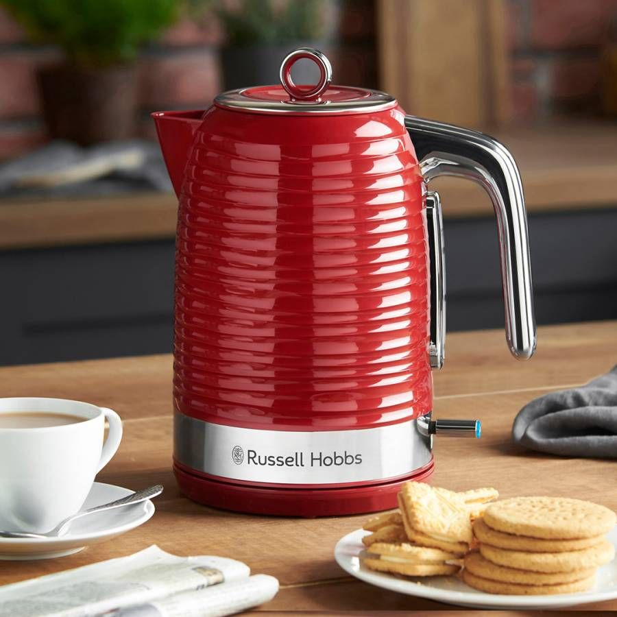 Russell Hobbs Red Inspire Kettle 1 7l In 2020 Kettle Kettle Toaster Cord Storage