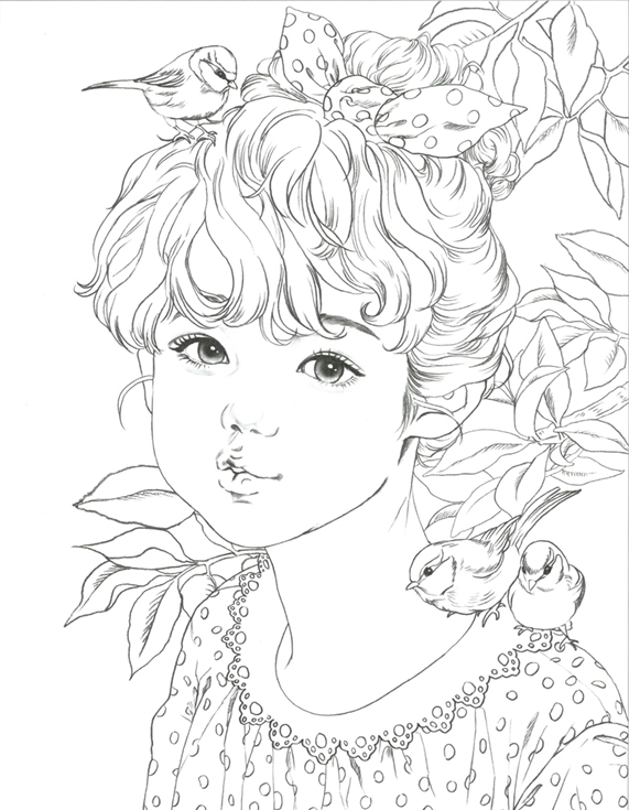 Girls With Poem By M O M O Girl Girls Coloring Book By Momo Etsy Coloring Books Fairy Coloring Pages Cute Coloring Pages