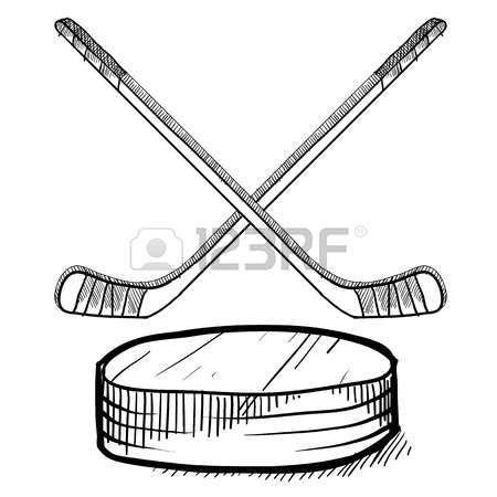Doodle Style Hockey Illustration In Vector Format Includes Text Stick Drawings Hockey Doodles