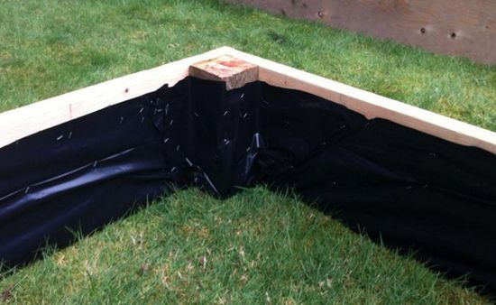 plastic sheeting to the inside of raised beds – to help keep moisture away from the wood and increase longevity.