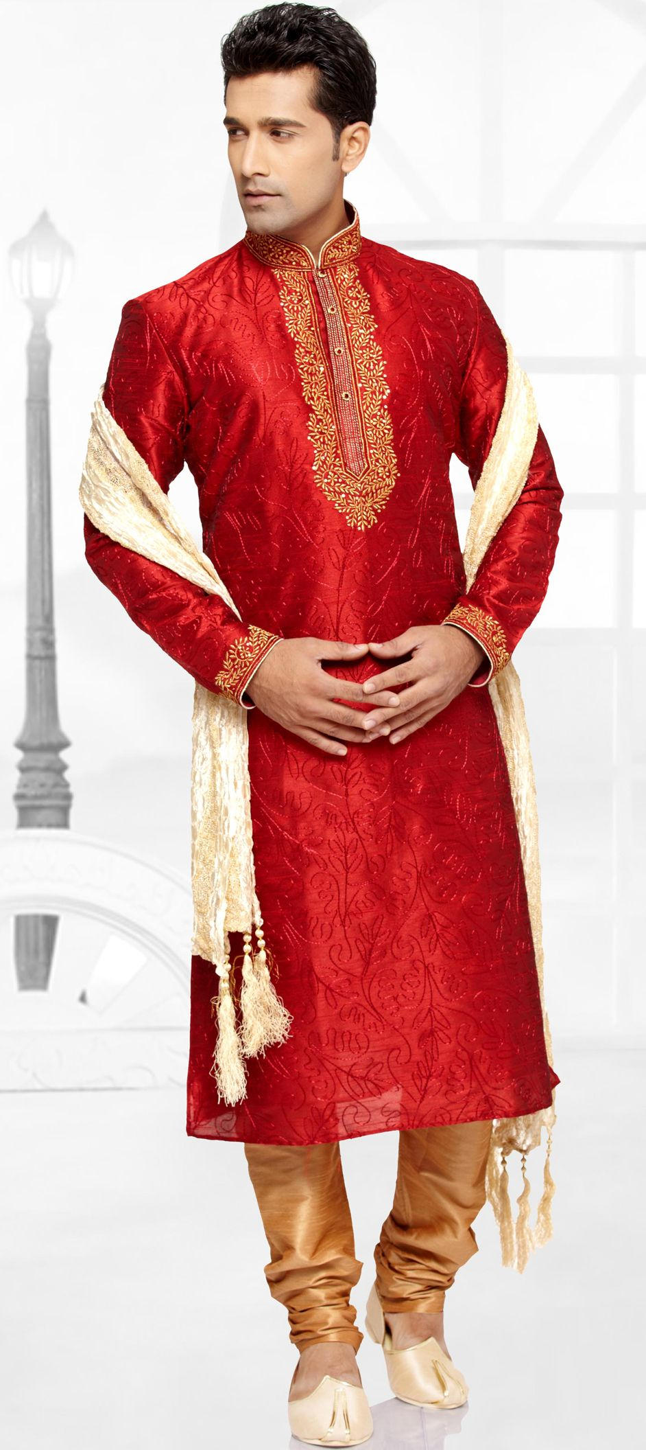 503063: Red and Maroon color family stitched Kurta Pyjamas . | mens ...