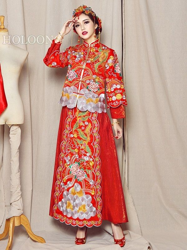 XiuHe suits Long qipao Vintage Toast formal dress Suit Wedding ...