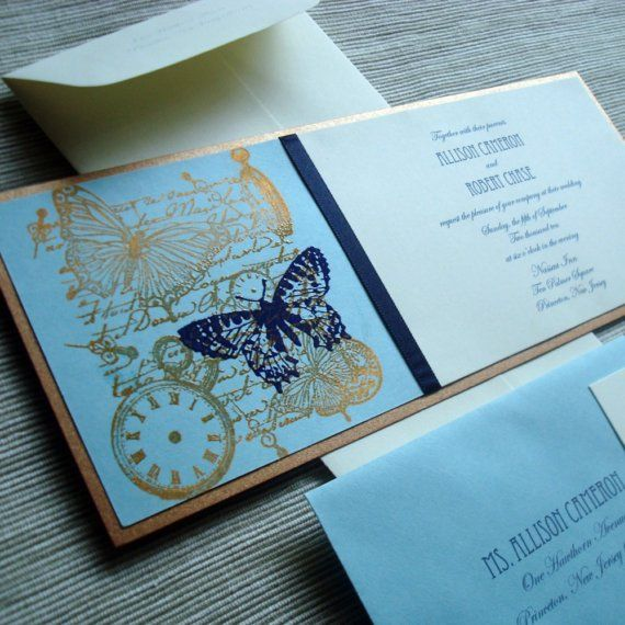Interesting.. maybe    Steampunk Wedding Invitation Ensemble with Butterfly by rbgcolor, $5.00/per
