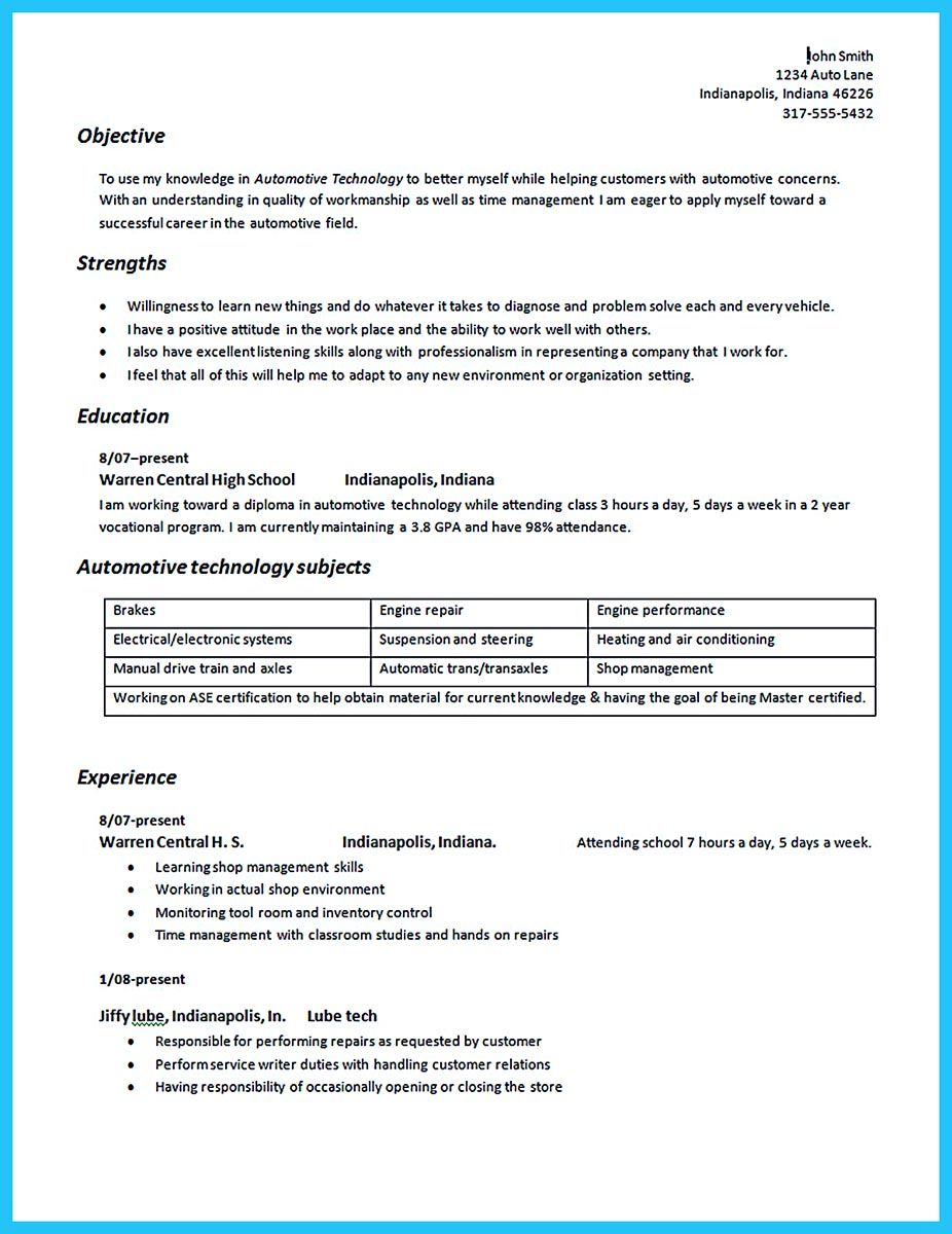 Auto Mechanic Resume Sample Stunning To Write An Automotive Technician Resume Is Similar With Other .