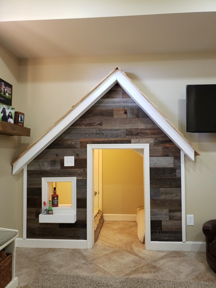 Dog house under stairs in 2020 Dog home decor, Indoor