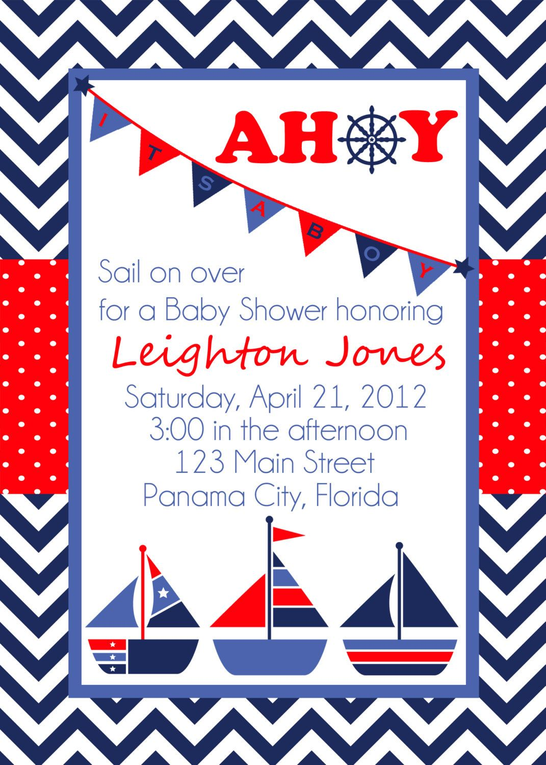 ahoy sailboat nautical theme shower invitation 1 50 via etsy