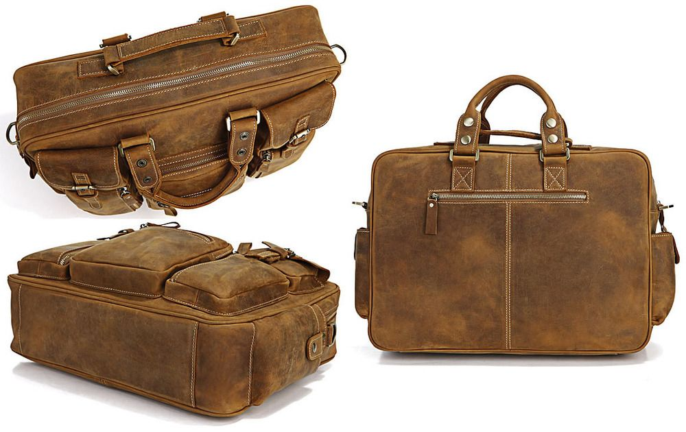 Image of Vintage Handmade Genuine Crazy Horse Leather Business Travel Bag /Duffle bag/Luggage Bag(J-1)