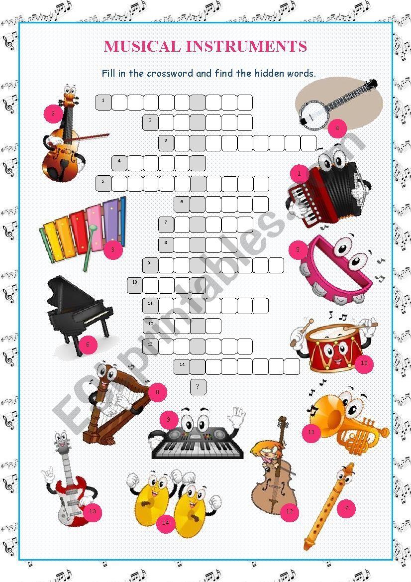 Musical Instruments Crossword Puzzle | Crossword, Musical ...