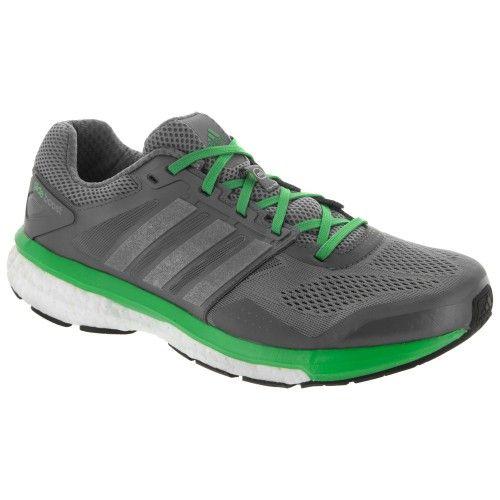 adidas supernova Glide 7 Boost Men's Gray/Silver Metallic/Flash Lime : Holabird Sports