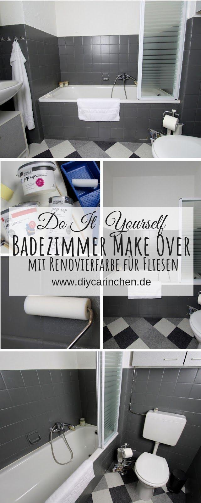 DIY: Badezimmer streichen und renovieren mit Fliesenfarbe - #schönerwohnen