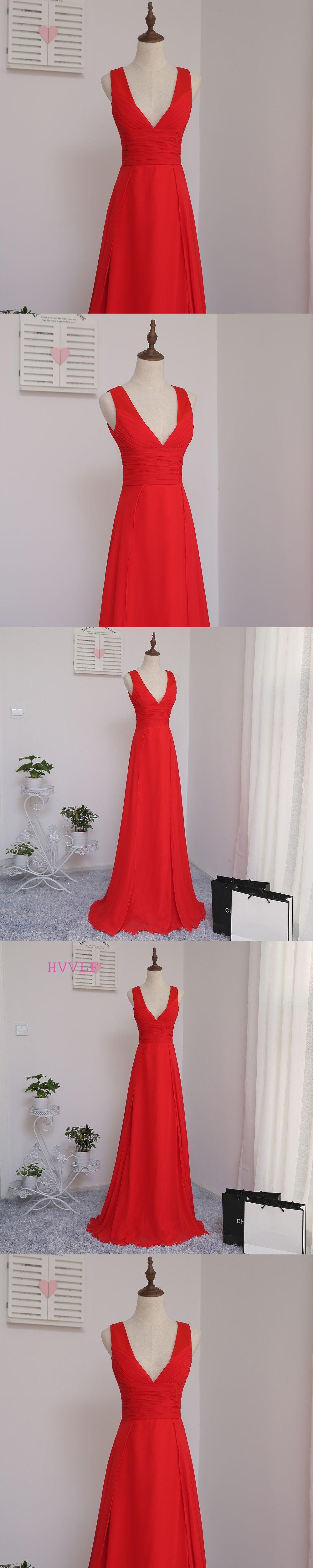Wedding party dresses · HVVLF 2018 Cheap Bridesmaid Dresses Under 50 A-line  Deep V-neck Red Chiffon 76564cd78af4