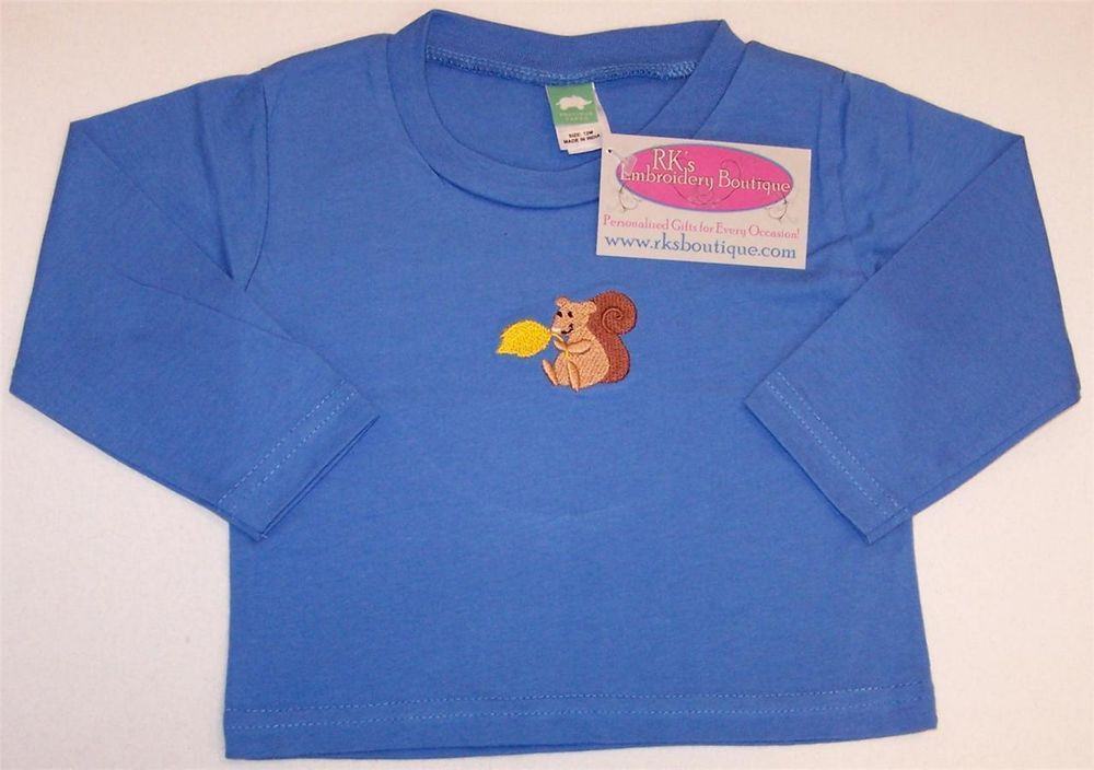 FALL SALE!!! 25% off! Autumn Squirrel & Gold Fall Leaf 12-Month Long Sleeve Blue Infant Baby Shirt NWT #PreciousCargo #Everyday