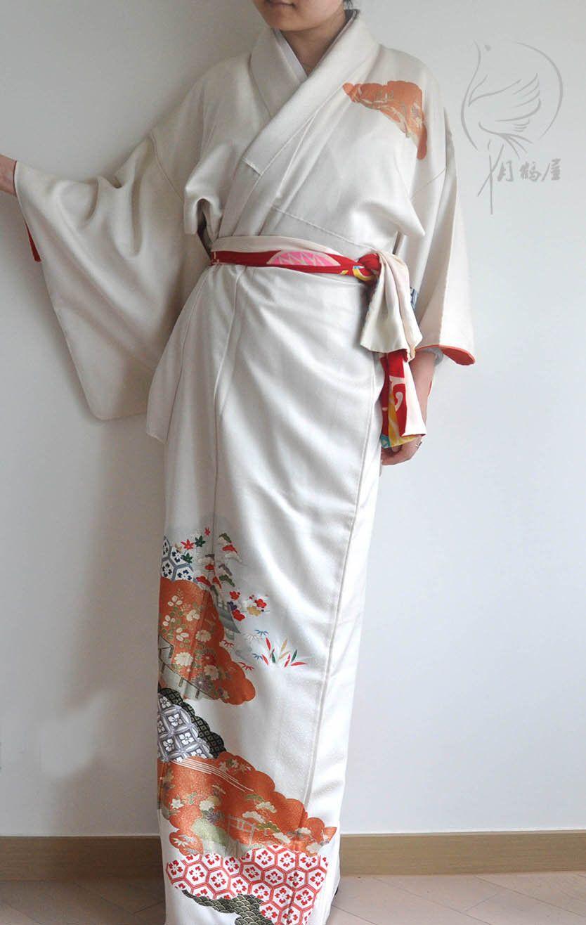 984963cd2 Japanese vintage silk long kimono robe, authentic grey tsukesake formal  visiting kimono gown dress,