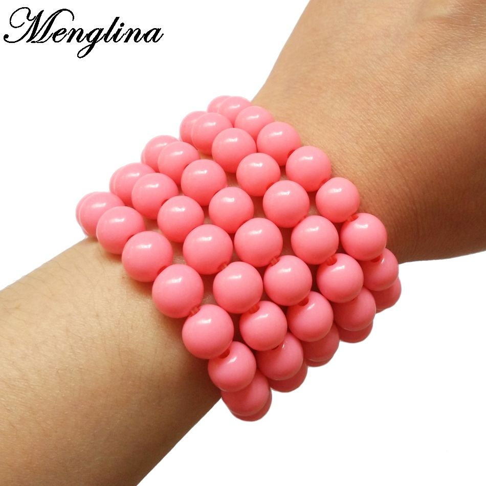 Menglina Fashion Lovely Pink Color Acrylic Bead Bracelets For Little ...
