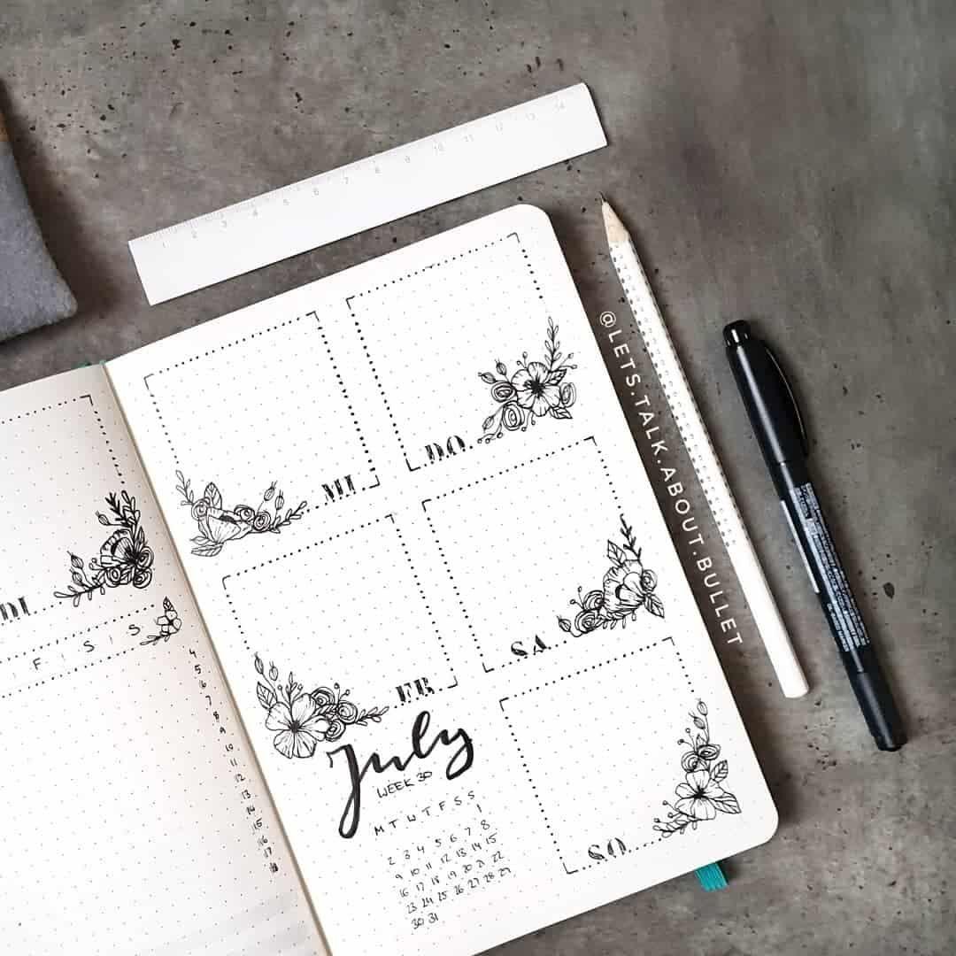 floral bullet journal spreads #bulletjournaldoodles