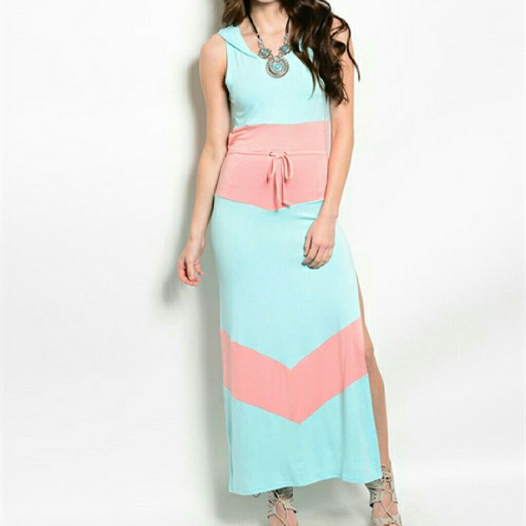 Blue and pink long maxi hoodie dress products