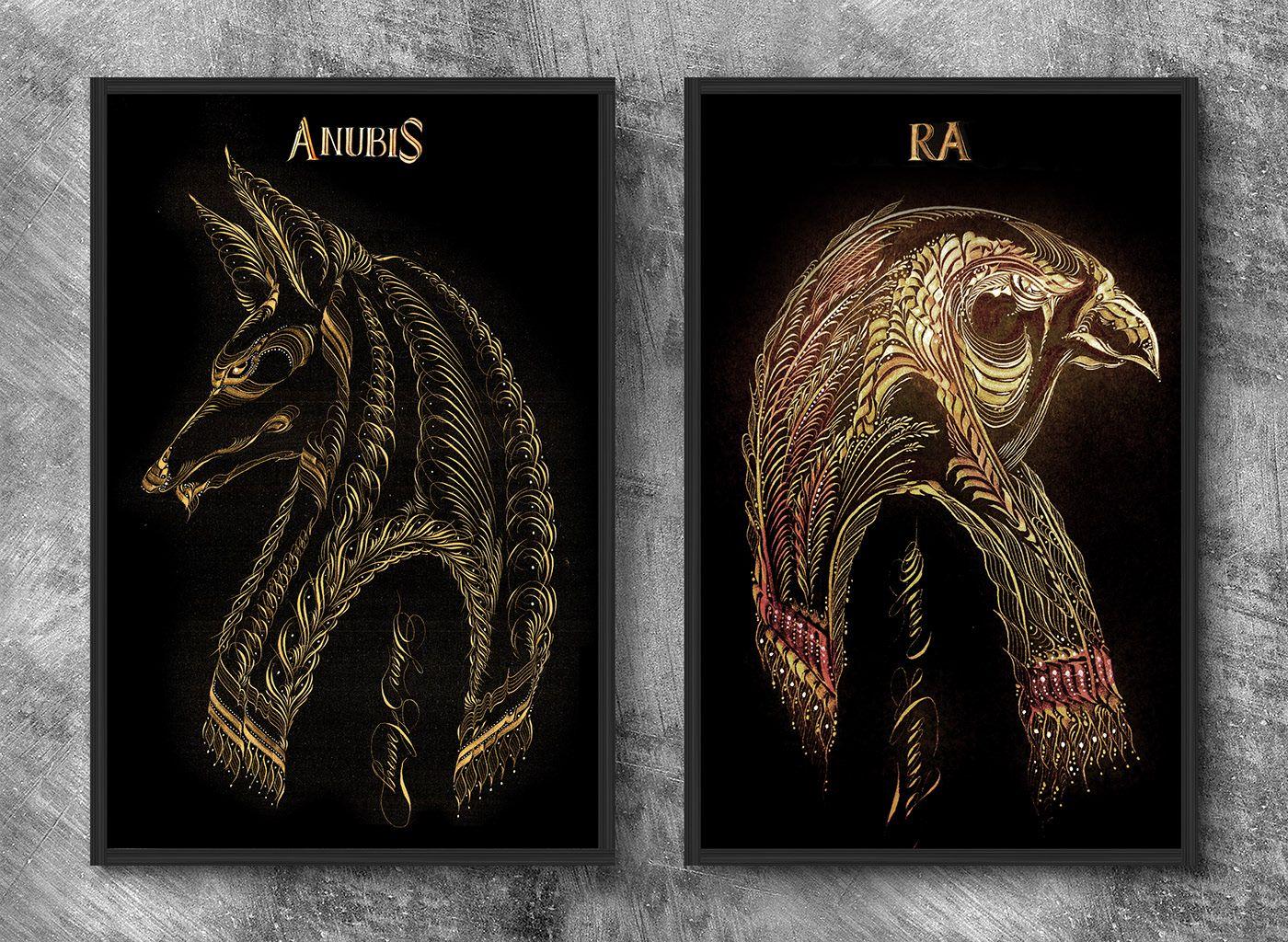 Egypt Gods - Ra & Anubis on Behance in 2020 | Ancient egyptian gods,  Anubis, Egypt tattoo