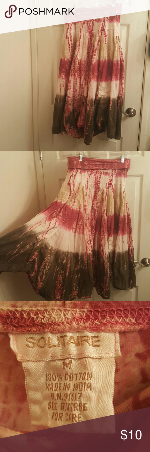Tie dye skirt Pink and green tie dye skirt. Super comfy just don't wear it anymore. Come to shin lenth if worn at the waist. 100% cotton with fold over elastic waist solitaire Skirts Midi