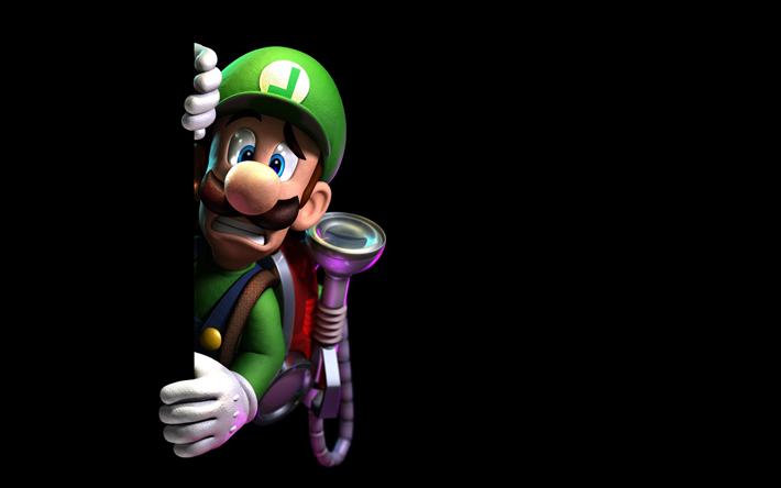 Download Wallpapers Luigi 4k Protagonist Black Background