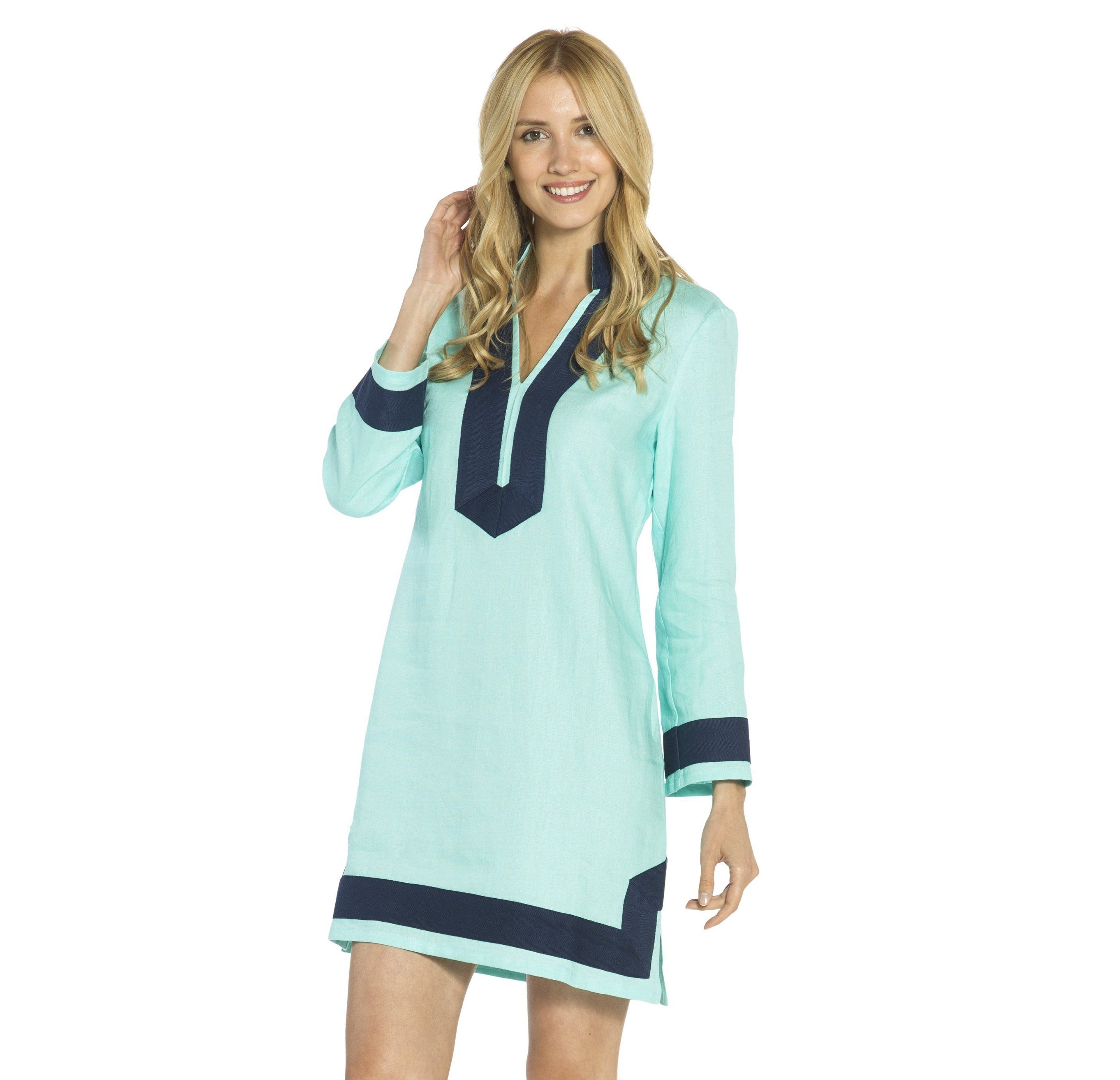 0677f43a52 Sail to Sable Classic Tunic With Sleeves - Aqua Navy
