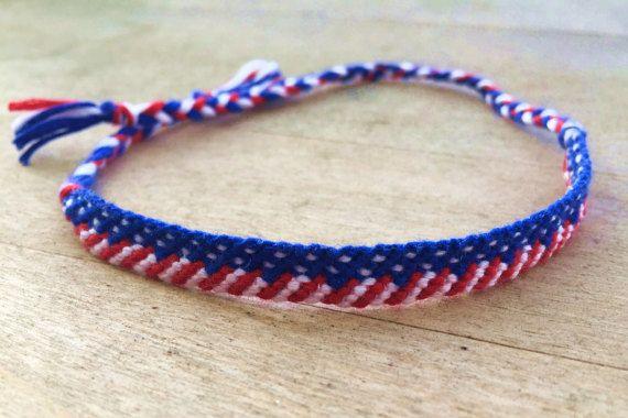Handmade American Flag Bracelet Red White And Blue Friendship Macrame String Patriotic