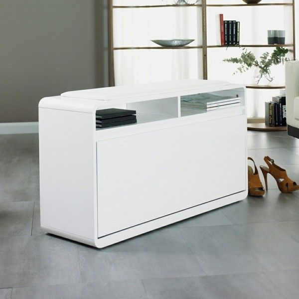 Shoe Cabinet White High Gloss Finish Storage Hall Furniture