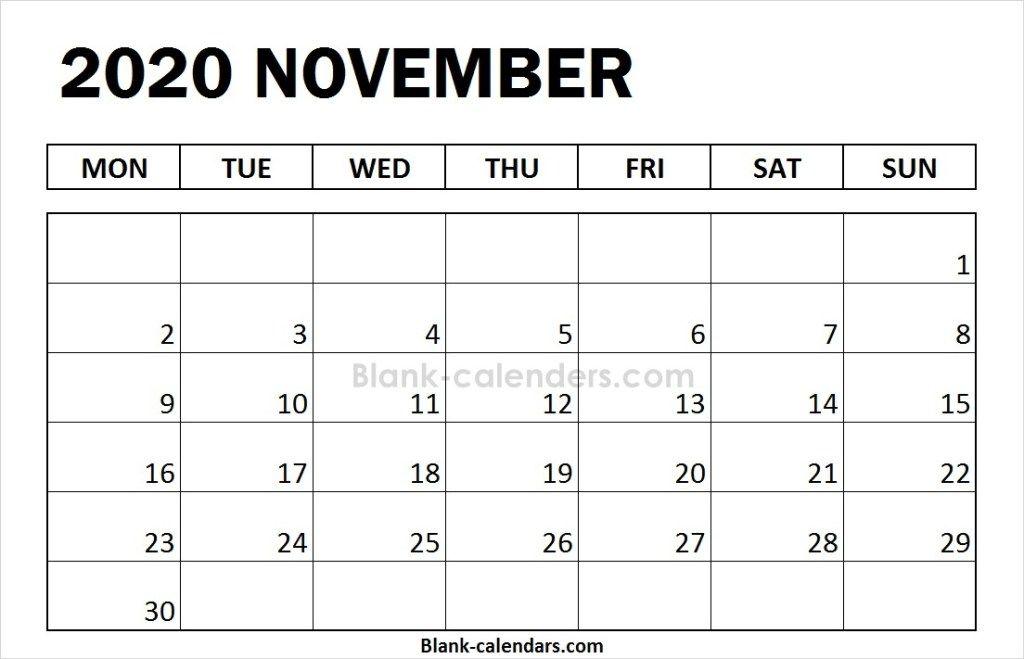 Blank November Calendar 2020 Monday Start   February ...