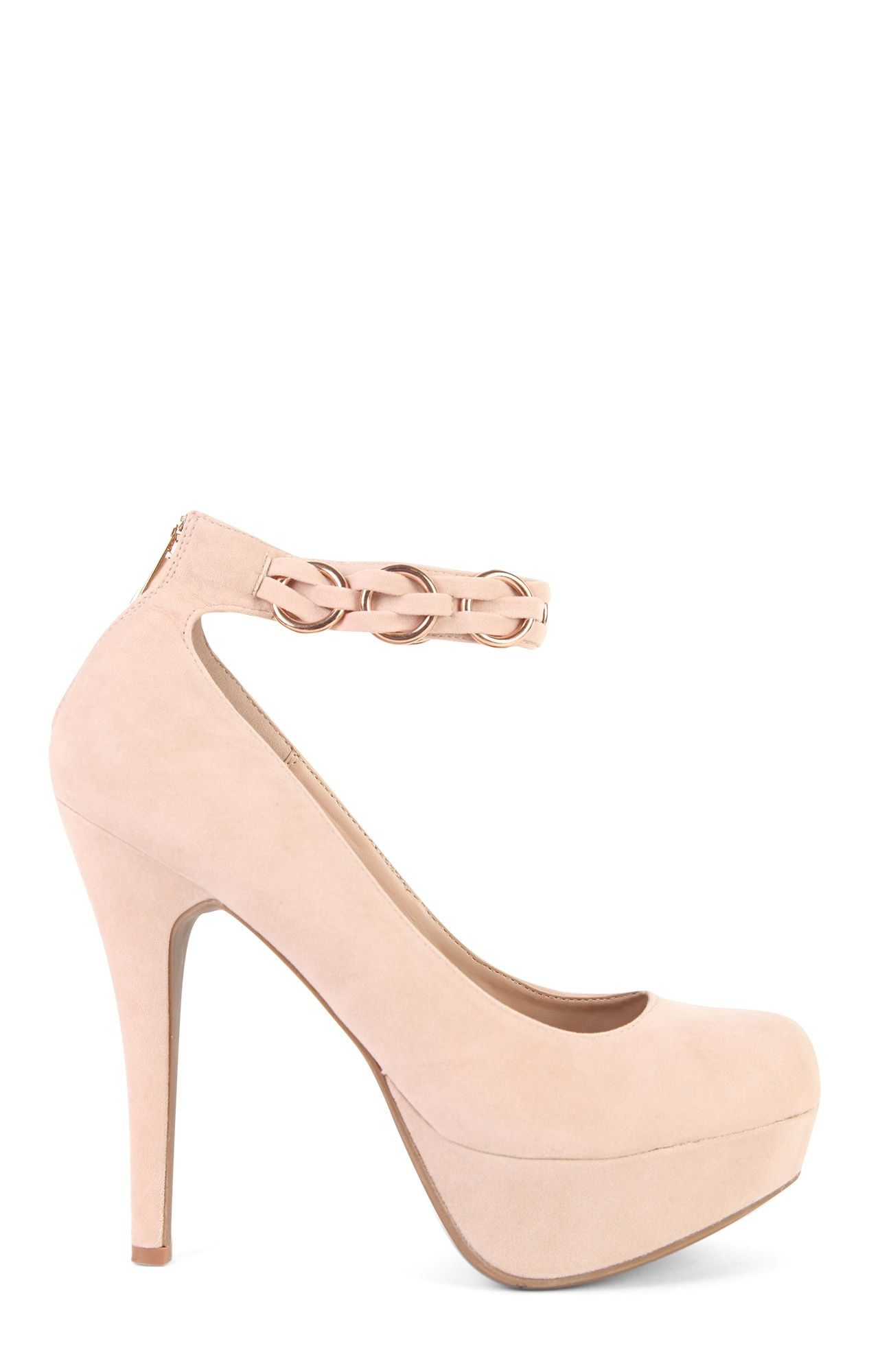SugarPair Nude Platform Pumps with Chain Ankle Strap and Zipper Back $21.90