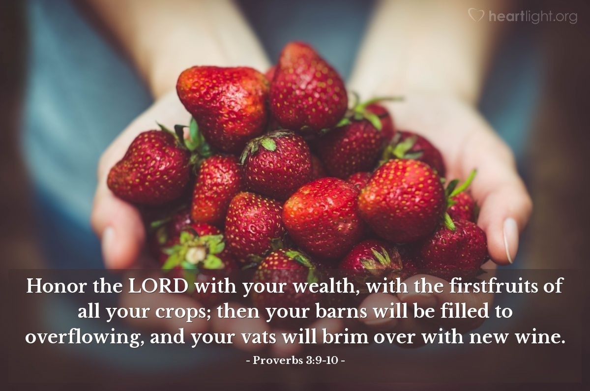 Illustration Of Proverbs 3 9 10 Honor The Lord With Your Wealth With The Firstfruits Of All Your Crops Then Your Barns Will Be Fruit Proverbs 3 9 Proverbs