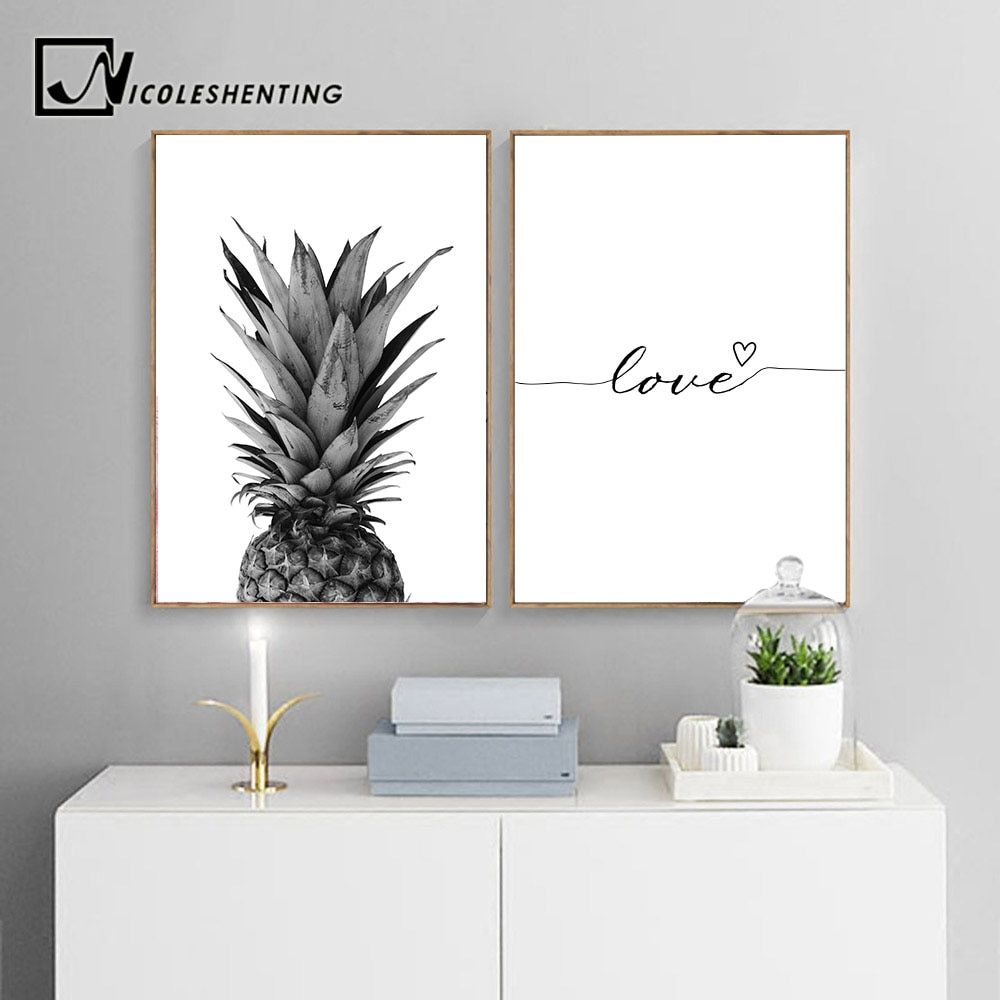 Nicoleshenting Pineapple Wall Art Canvas Posters Prints Nordic Love Quote Paintings Black White Wall Pi In 2020 Pineapple Wall Art Wall Art Living Room Living Room Art
