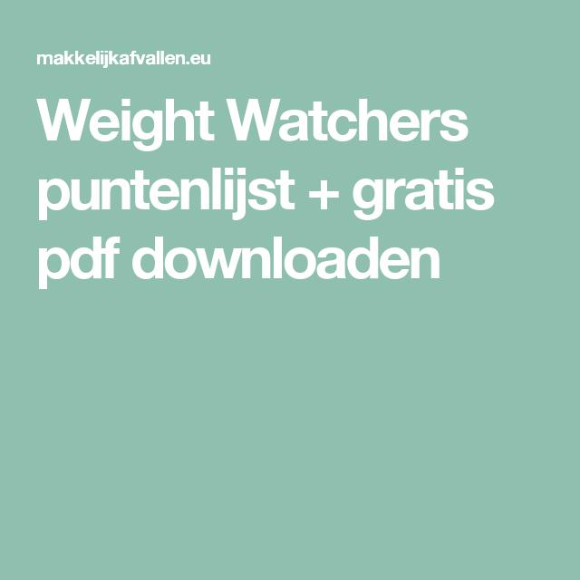 weight watchers gratis punten berekenen