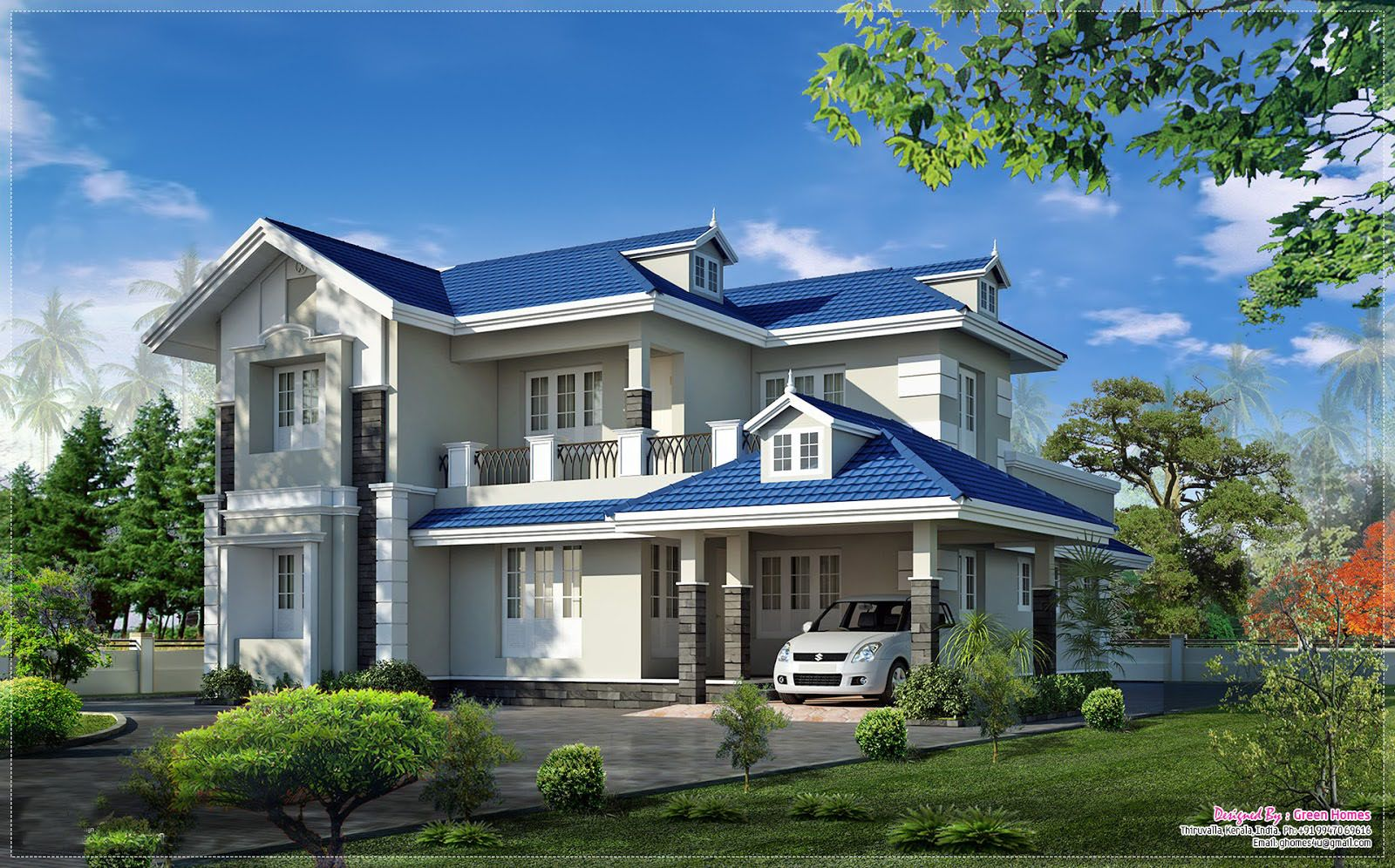 Very beautiful kerala home elevation at 2415 the for Elevation of kerala homes