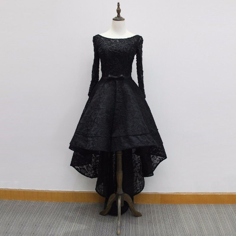 High Low Bateau Long Sleeves Black Lace Prom Dress with Beading ...