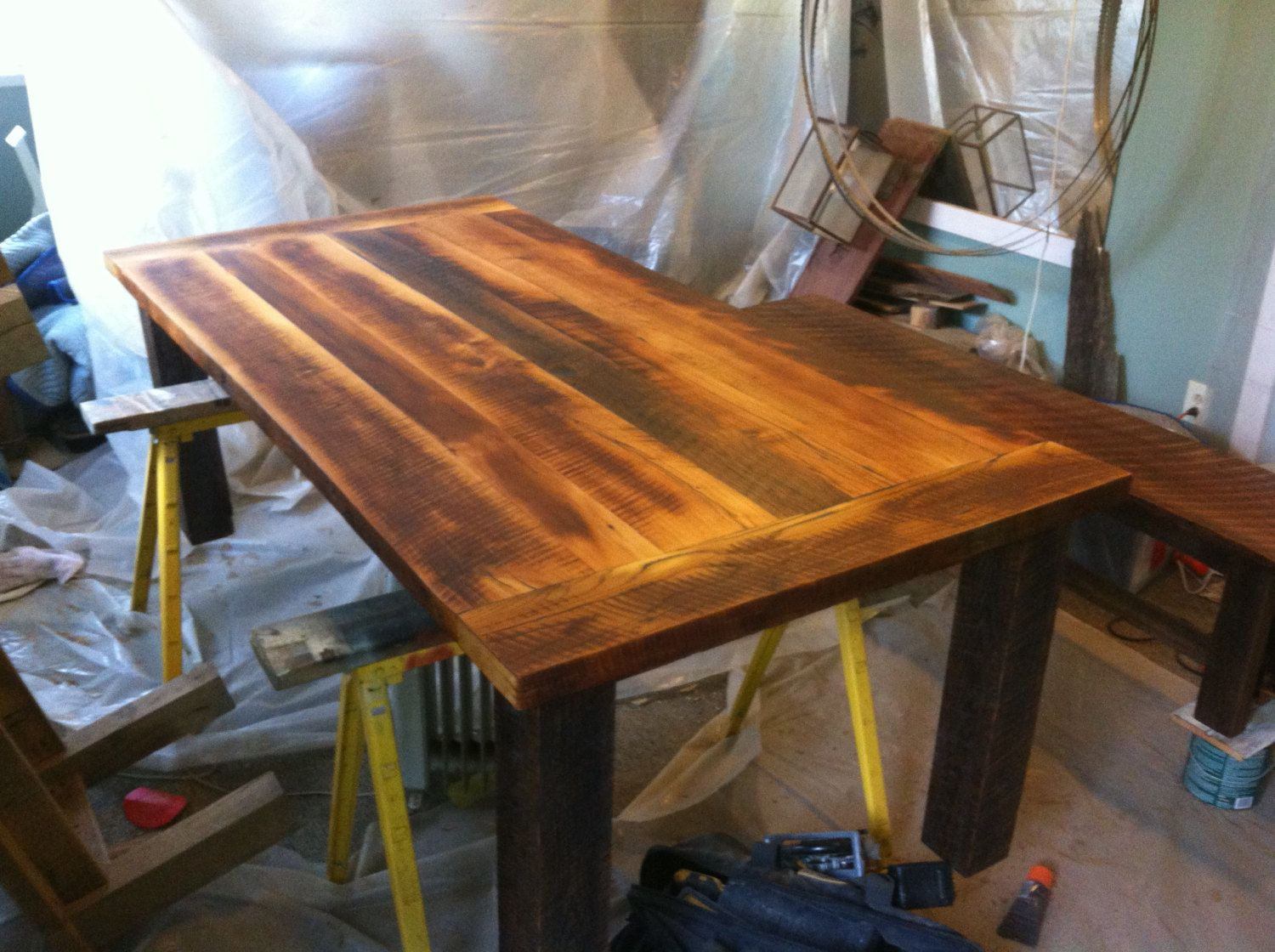 Reclaimed kitchen table  Reclaimed Barnwood Farm table with Bench Kitchen Dining Tables