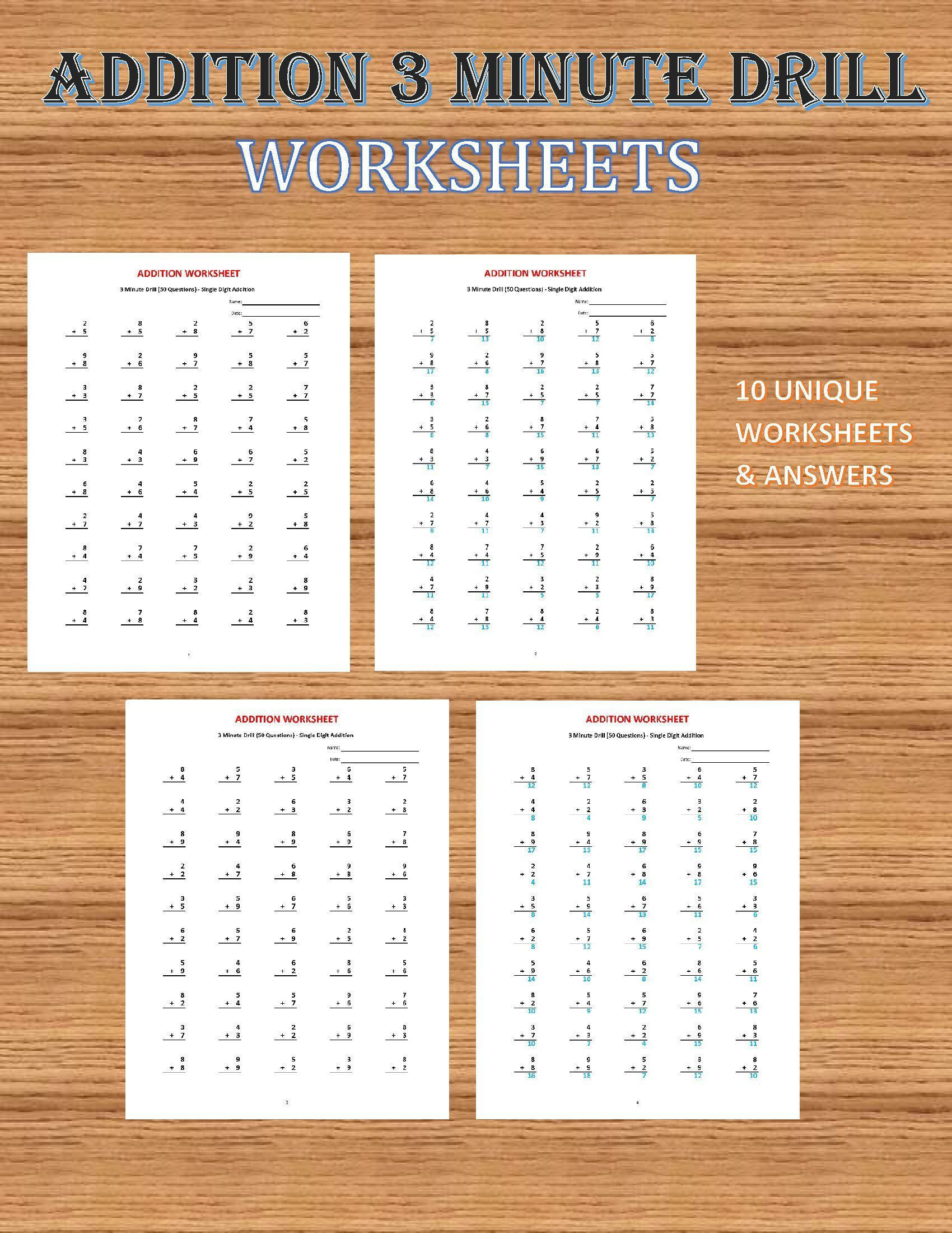 Addition 3 Minute Drill V 10 Math Worksheets With Answers