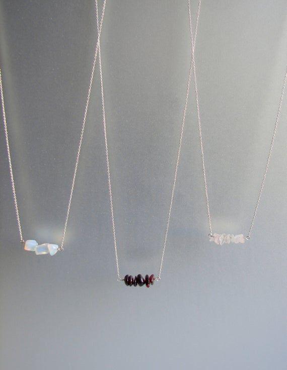 Natural Opal, Garnet, Rose quartz Necklaces SOLID 925 Sterling Silver Minimalist Necklace. Chain len #quartznecklace