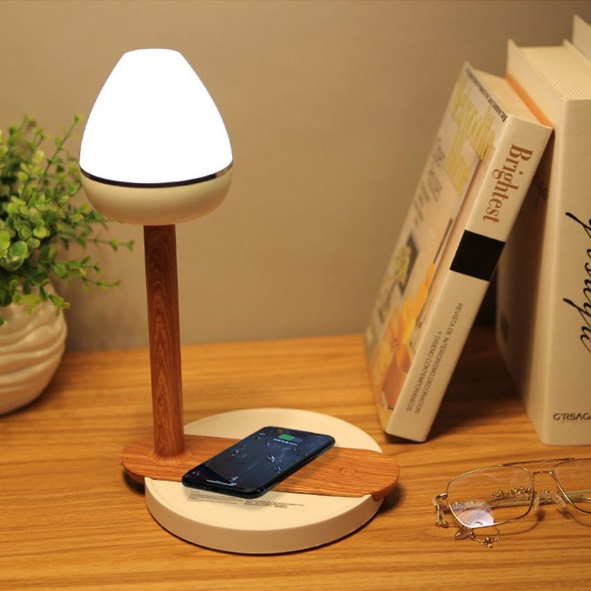 Wireless Phone Charger Touch Desk Lamp Wood Qi Induction Universal Charging Unit For Iphone Xs Max Samsung S9 Ecomyshop Shop All You Need Phone Charger Wooden Desk Lamp Desk Lamp