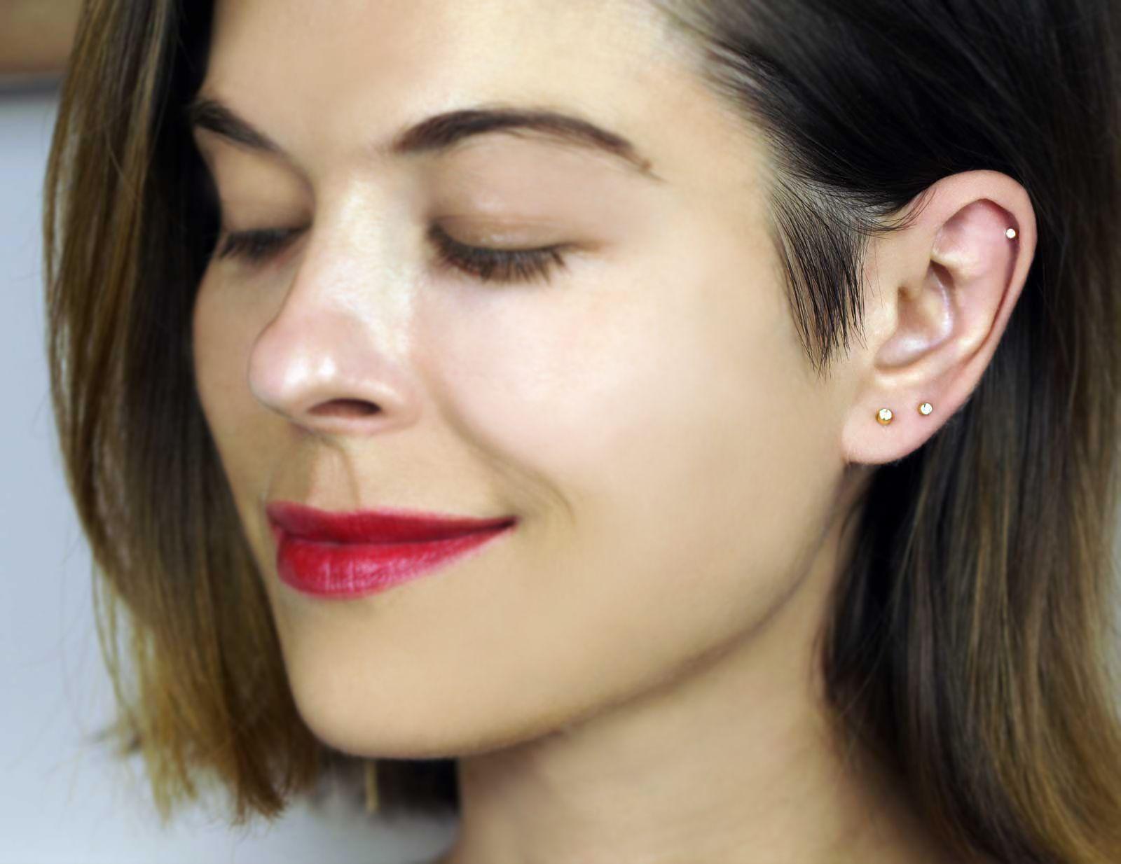 46b5b2465 Small Single Diamond 18K Yellow Gold Cartilage Helix Piercing Stud Earring  | LENA COHEN