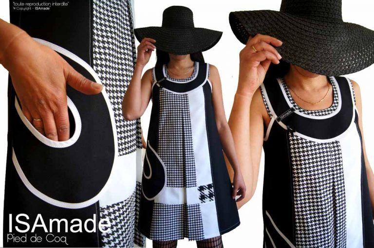 0165e5fb684 Robe noire blanche trapèze pied de poule chic chasuble Graphique Sixties créateur  made in France Printemps