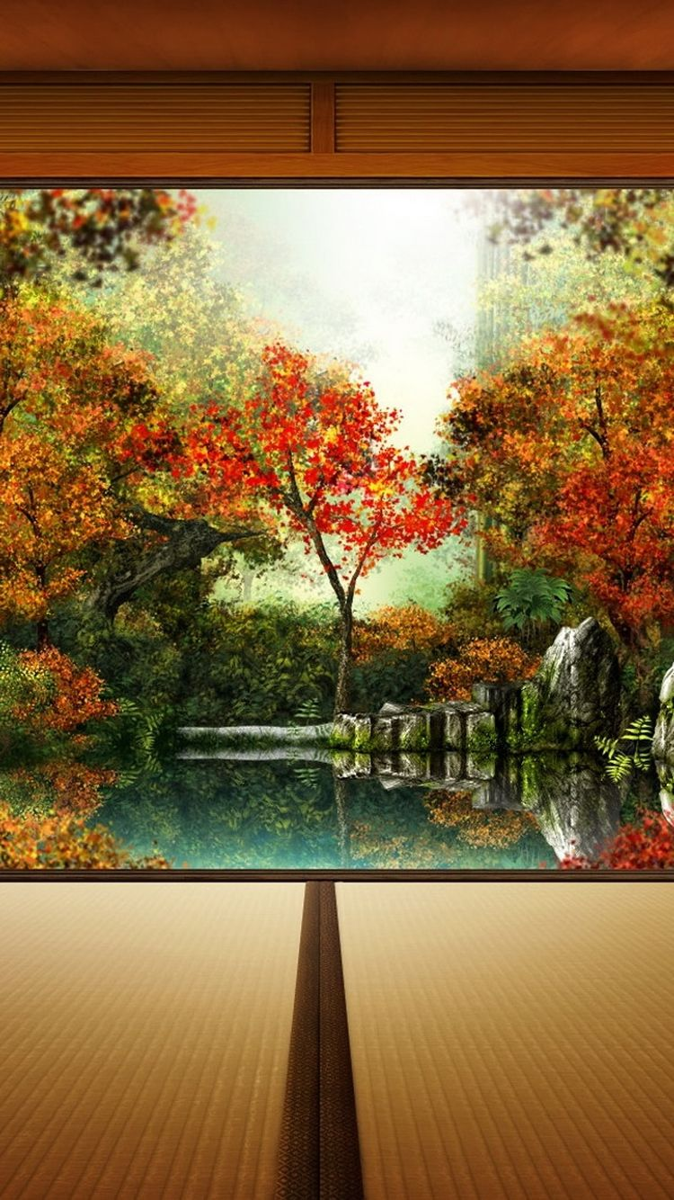 Japanese Autumn Garden iPhone 6 Wallpaper Cute home