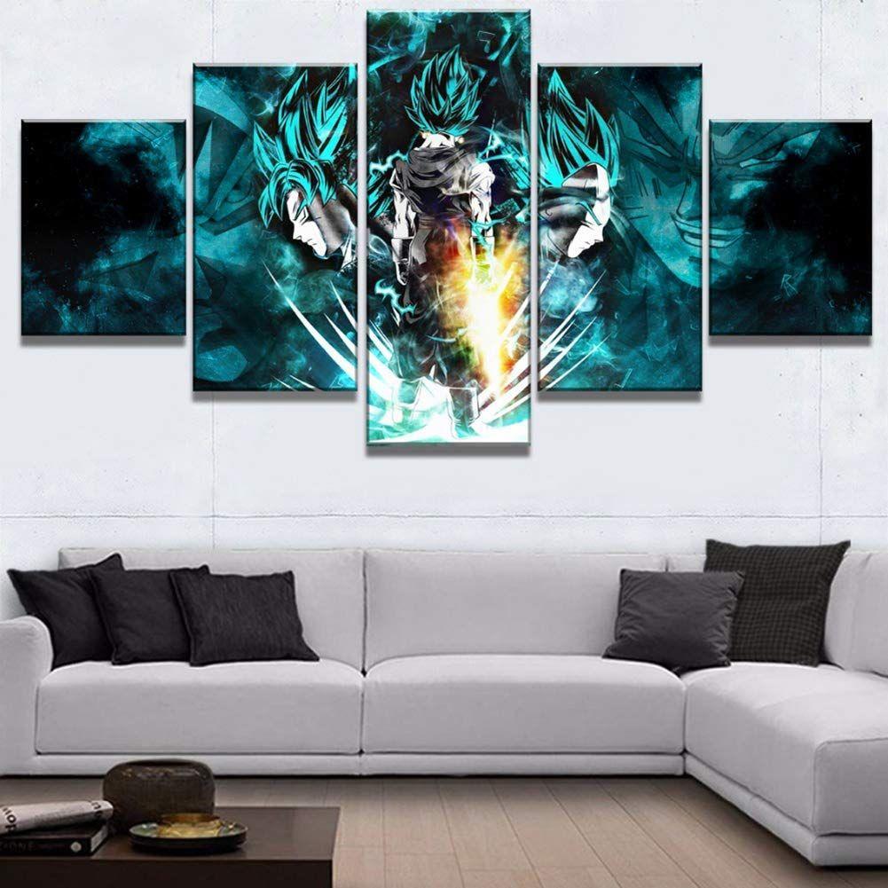 FJLOVE Impressions sur Toile 5 Pieces Dragon Ball God\'s ...