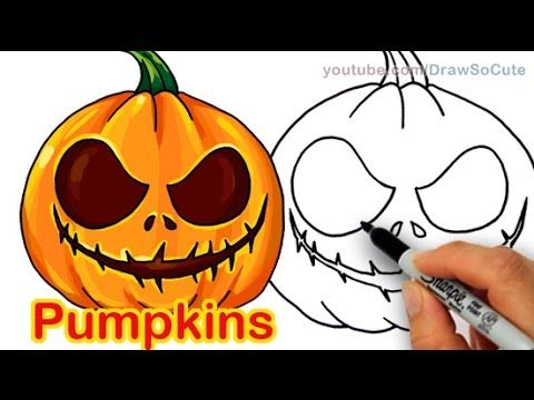 How to draw scary carved pumpkins cute and easy halloween Awesome pumpkin drawings
