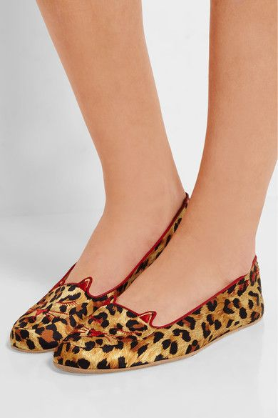 40e09021fd4 Charlotte Olympia - Agent Provocateur Wild Cat Naps Embroidered Satin  Slippers - Leopard print