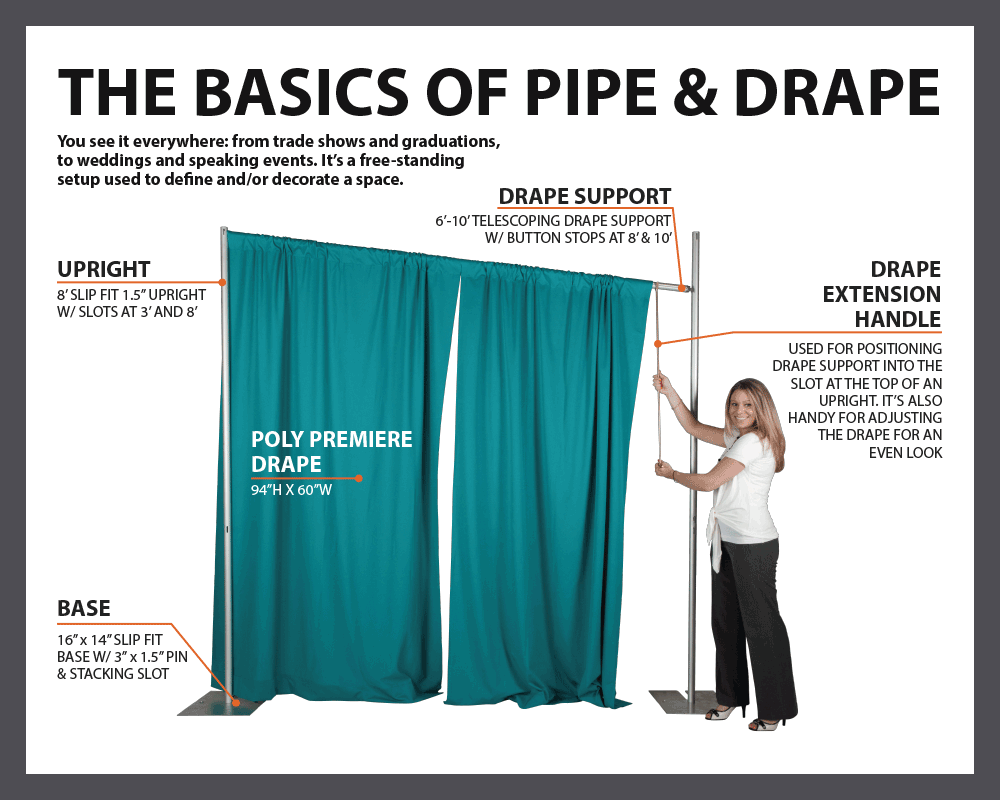 what is pipe and drape | paris quince | pipe, drape, wedding, backdrops