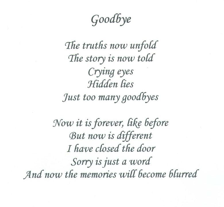 Sad Goodbye Love Poems | Danny's_memoir: Goodbyes ...