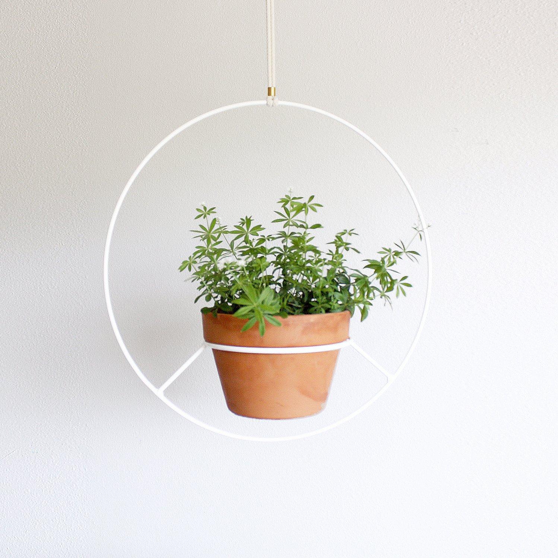 Hanging Plant Holder White Metal Hanging Plants Indoor Hanging Plants Hanging Plant Holder