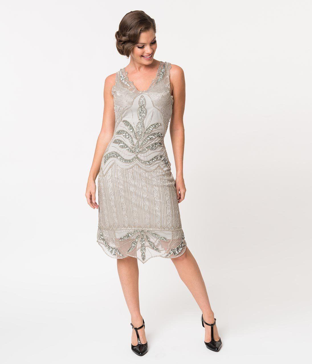 1920s Style Silver Grey Beaded Elsa Cocktail Dress Unique Vintage Trendy Cocktail Dresses Dresses Homecoming Dresses [ 1275 x 1095 Pixel ]
