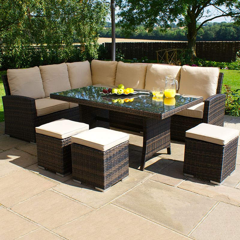 Kingston Low Dining Set Mix Brown Garden Sofa Rattan Garden Corner Sofa Garden Furniture Sets